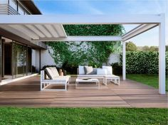 Which Pergola Awning Model is right for your business or home? Check out our full comparison chart of pergola awning models from Sunair. Aluminum Pergola, Outdoor Decor, Wall Mounted Pergola, Patio Design, Garden Design, Pergola Designs, Pergola Attached To House, Outdoor Living