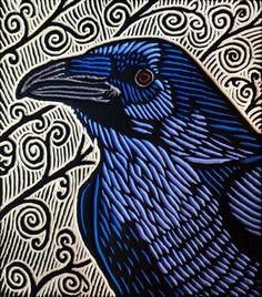 Large Crow - by Lisa Brawn ~Woodcut Crow Art, Raven Art, Bird Art, Art And Illustration, Linocut Prints, Printmaking, Art Projects, Street Art, Sculpture