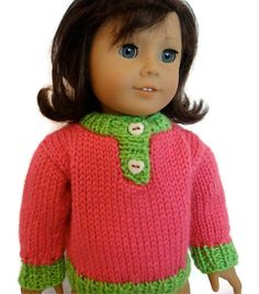 Doll Sweater Pink Lime Green Heart American by PreciousBowtique, $10.00