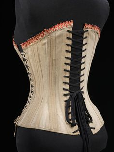 1870-1899, England or Germany - Corset - Embroidered cotton, and metal and boning