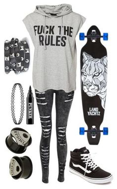"""""""Skater"""" by the-uninportant-emo ❤ liked on Polyvore featuring Sally&Circle, Vans, Hot Topic, Ardency Inn, Presh, SkaterGirl and skater"""