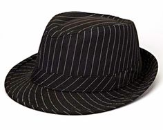 """Boys Girls Fedoras Couture Black Pinstripe Father's Day Trendy Kids Hat 20 1/2"""" - #Boogityboogityboo"""