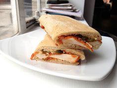 Chicken escalope, cheese, chilli and jalapeño panini, Soho Bar