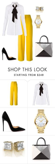 """Untitled #54"" by s-tate-1 ❤ liked on Polyvore featuring Cédric Charlier, Diane Von Furstenberg, Christian Louboutin, Movado and Fendi"