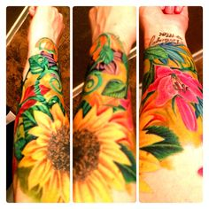 Floral tattoo. Flower sleeve. Bright colors