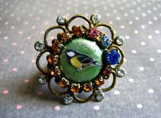 Sweet Bird Ring  Green Metallic Mixed Rhinestone by yasminbochi, £17.00