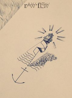 Forearm minimal anchor tattoo lighthouse