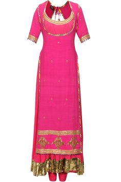 Rani pink crushed anarkali set with embroidered chola by Tisha Saksena. Shop now: www.perniaspopups.... #anarkali #beautiful #designer #tishasaksena #clothing #shopnow #perniaspopupshop #happyshopping