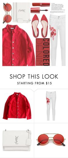 """Spring Trend: Colored Trend"" by aislinnhamilton1993 ❤ liked on Polyvore featuring Cacharel, WearAll, Yves Saint Laurent, ZeroUV and Giorgio Armani"
