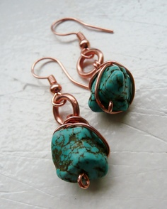 Blue Stone 3 Strand Copper Wrapped Necklace and Earring Set. $45.00, via Etsy.