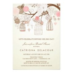 Cute Vintage Pink Birdcages Bridal Shower Invitation, in pastel pink and brown on creamy beige.