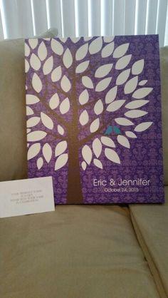 Antique Damask Wedding Tree Canvas | Guest Book Alternative | Rustic Wedding | Customer Photo | Wedding Color - Purple | peachwik.com