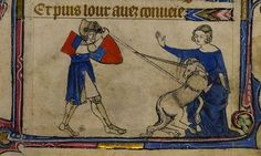 Maiden with Unicorn in her lap, Knight in armour kills Unicorn. bas de page, England 14th cent.. YT 13. Brit. Lib.