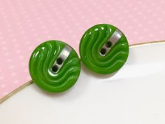 Green Glass Studs, Vintage Czech Glass Stud Earring, Retro Studs, Green Wave Design Silver Detail, Green Glass Button Stud, KreatedByKelly