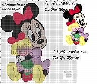 Baby Minnie combing her doll cross stitch pattern