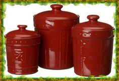 Sorrento Canisters Set of 3 Jars Ruby Red Kitchen Storage Stoneware Jar Storage, Kitchen Storage, Food Storage, Storage Containers, Sorrento, Beautiful Kitchens, Cool Kitchens, Dream Kitchens, Red Kitchen Canisters