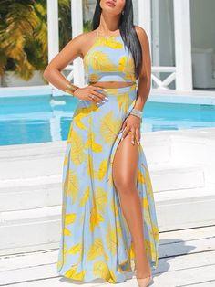 8d7666d7613 Floral Backless Crop Top   Slit Skirt Set Slit Skirt