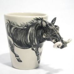 Wild Bore Animal Mug Head Handle Art Handmade Gift Collectible 0002