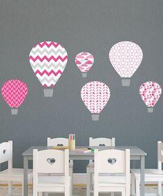 Pink Hot-Air Balloon Wall Decal Set by Wallquotes.com by Belvedere Designs #zulily #zulilyfinds