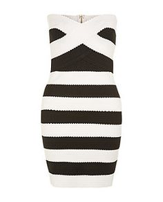 Monochrome Stripe Bandaged Bandeau Bodycon Dress | New Look