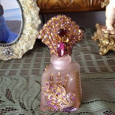 Pink jeweled perfume bottle in lavender by cindysvictorian on Etsy, $25.00