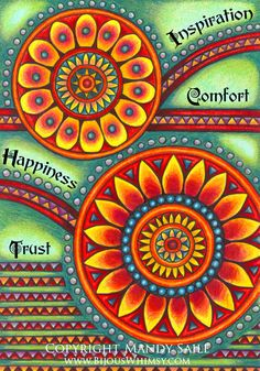 Inspiration, Happiness, Trust and Comfort - PRINT by Mandy Saile of Bijou's Whimsy. $20.00, via Etsy.