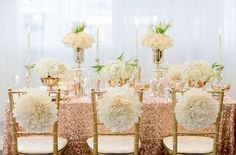 ROSE GOLD SEQUIN Tablecloth Select Your Size by VowWowDecor