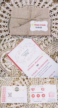 Burlap wrapped invitation suite. Stationery: All In The Invite ---> http://www.weddingchicks.com/2014/06/04/country-burlap-and-lace-wedding/