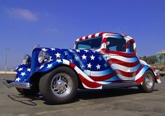 "Americana ""Red, White & Blue"" Wow Now that's a Nice Paint Job! Custom Bikes, Custom Cars, Custom Trucks, Classic Trucks, Classic Cars, Gta, Hot Rods, 1957 Chevrolet, Us Cars"