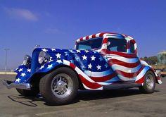 "Americana ""Red, White & Blue"" Wow Now that's a Nice Paint Job! Custom Bikes, Custom Cars, Custom Trucks, Classic Trucks, Classic Cars, Gta, Hot Rods, Hot Rod Autos, 1957 Chevrolet"