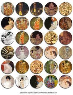 klimt Printable Cards, Printables, Marble Magnets, Decoupage Plates, Free Collage, Plastic Bottle Crafts, Cartoon Profile Pictures, Vintage Maps, Glass Marbles