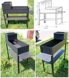 New outdoor camping kitchen fire pits ideas Summer Kitchen, Diy Kitchen, Camping Kitchen, Diy Camping, Metal Furniture, Outdoor Furniture Sets, Camping Cooking Equipment, Fire Pit Grill, Fire Pits