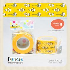 Yellow and White Floral 30mm WIDE TAPE Gakken Funtape japanese washi tape. $6.90, via Etsy.