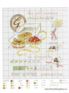 Grille bonbons 1 g teaux p tisseries au point de croix cross stitch pinterest grille - Veronique enginger grille gratuite ...