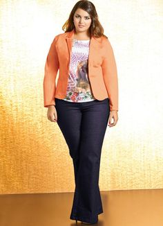Blazer Plus Size Laranja - Quintess