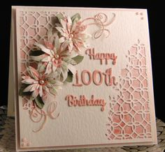 100th Birthday Card, Old Birthday Cards, Homemade Birthday Cards, Birthday Cards For Women, Bday Cards, Homemade Cards, Scrapbooking, Bone Folder, Do It Yourself Home
