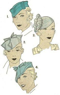 Vintage 1930s Hats Millinery Pattern
