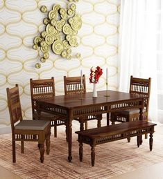 Buy Taksh Solid Wood 6 Seater Dining Set (with Bench) with Brown Upholstery by Mudramark Online – Traditional 6 Seater Dining Sets – Dining – Furniture – Pepperfry Product - fanvan. 6 Seater Dining Table, Wooden Dining Tables, Modern Dining Table, Dining Room Table, A Table, Wooden Sofa, Traditional Dining Tables, Traditional Furniture, Dining Set With Bench