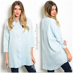 "The BOYFRIEND top Boyfriend Button Up Top.  Fabric: 70% LINEN 30% COTTON Size available: S-M Measurements: L: 35"" B: 34"" W: 26"" (Measured from small) Tops Button Down Shirts"