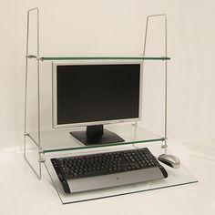 Black glass top monitor shelf posturedesks Reo-Smart 120 ...
