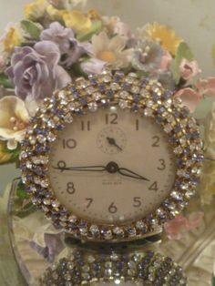 Vintage Chic Baby Ben Rhinestone Alarm Clock Jeweled