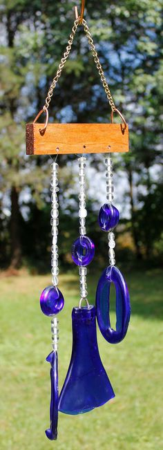 Beaded Blue Wind Chime from Recycled Blue Wine by DeeLuxDesigns, $25.00 Connie Sue notice this!