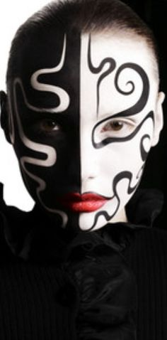Black & white face paint by makeup artist Alex Box. She has produced looks for Stella McCartney, McQueen, and Lagerfeld, to name a few. Her work has been featured in Vogue, I:D and W magazines