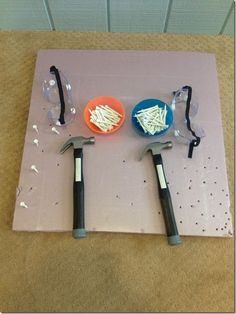 Foam board and hammering, fine motor activities, preschool, preschool fine motor, preschool construction, tools, golf tees