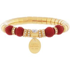Henri Bendel Soho Stretch Bracelet ($53) ❤ liked on Polyvore featuring jewelry, bracelets, red, rose charm, bracelet charms, charm bangle, charm bracelet and rose bracelet