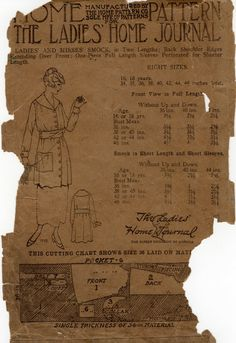 Unsung Sewing Patterns--Ladies' Home Journal Smock (around 1918).  LOVE this Blog!