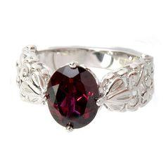Sterling Silver Oval Rhodolite Garnet Filigree Ring ($78) ❤ liked on Polyvore