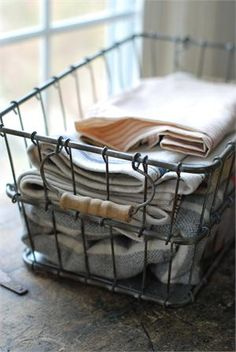 Vintage Style Farmhouse Wire Baskets, can be used for everything. I picked up mine from a junk shop and use them to collect vegetables from the garden and then holds onions in the basement!