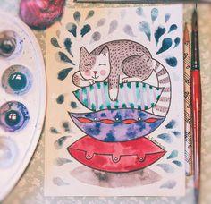 """Понедельник всем шепчет соням на ушко - """"вот бы поспать сейчас, как котик на подушке """" 😌 🎨Art By Vera Gnat - уютные картины на заказ, по всем вопросам пишите в лс ❤ #artbyveragnat #artcat #aquarelle #illustration #watercolorart #watercolorillustration #cat #handmade #sleepy #myartwork #instaart #foryourhome #decor #sketch #picture #watercolorblog #kharkiv #painting #drawing #instaart #artistgallery #kitten #хочуспать #акварель #рисунок #картинаназаказ"""