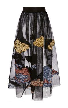 Black Mountainscape Embroidered Tulle Skirt by ALENA AKHMADULLINA for Preorder on Moda Operandi
